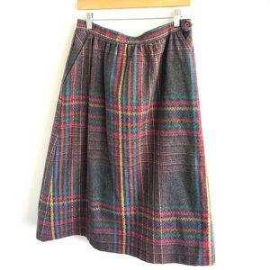 Vintage Gray Plaid A-Line Skirt